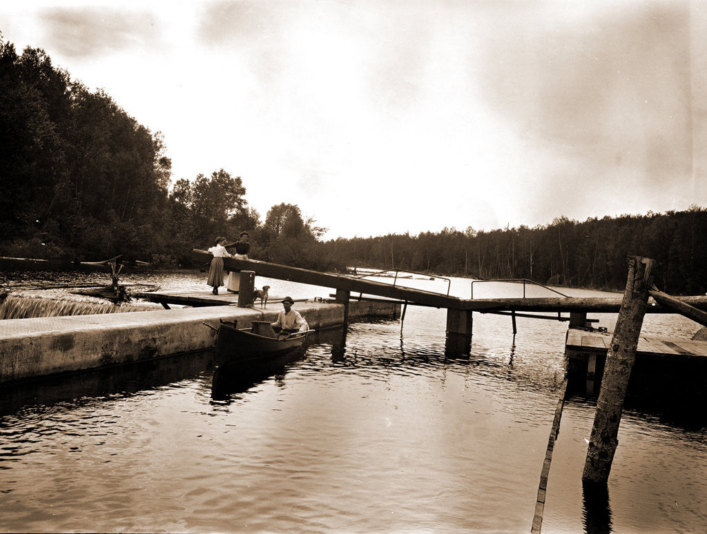 Detail of Dam and lock, Saranac River by Anonymous