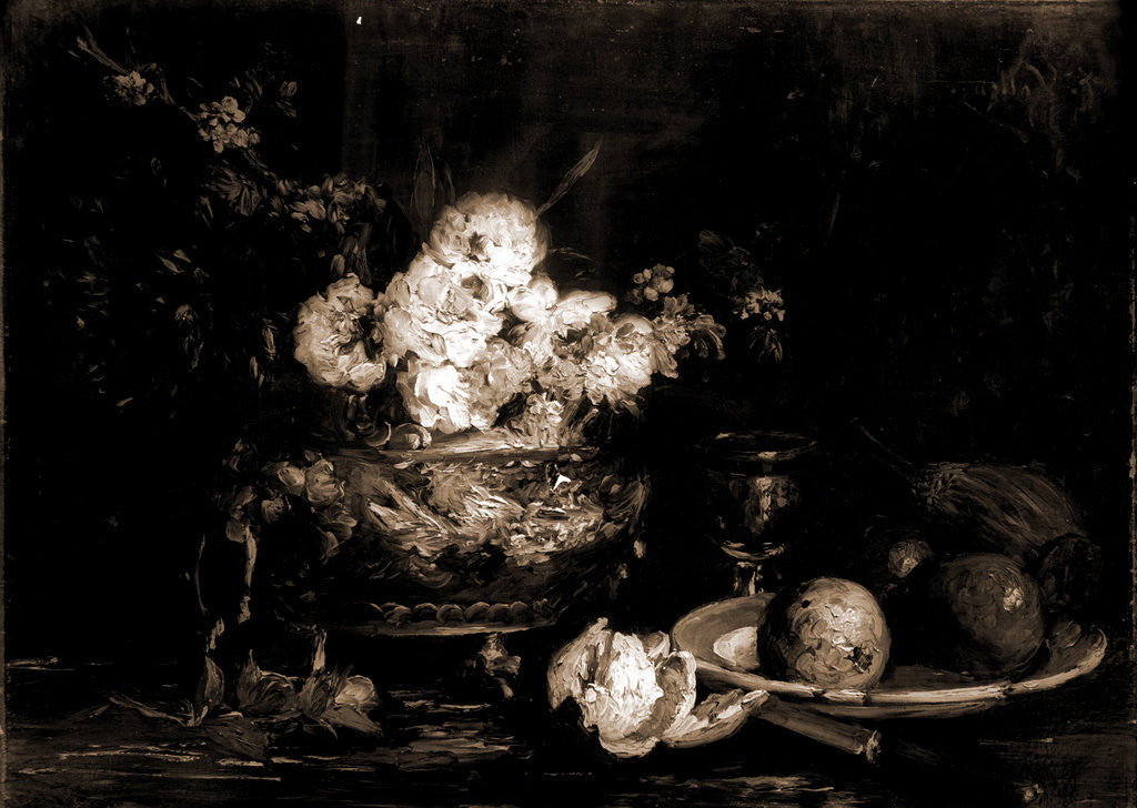 Detail of Fruit and flowers by Antoine Vollon