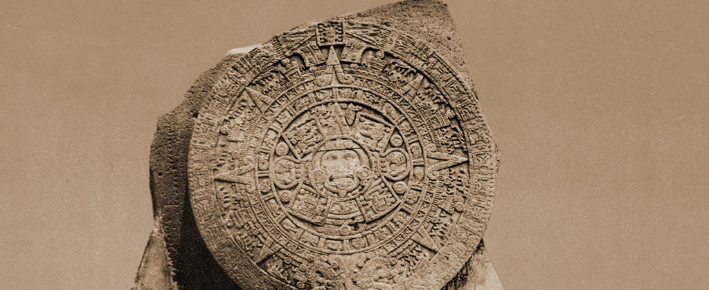 Detail of Aztec calendar stone by William Henry Jackson