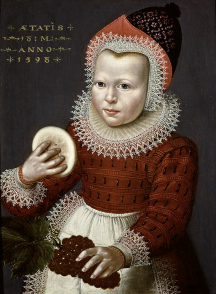 Detail of Portrait of a Young Girl Holding Bread and Grapes, 1598 by English School
