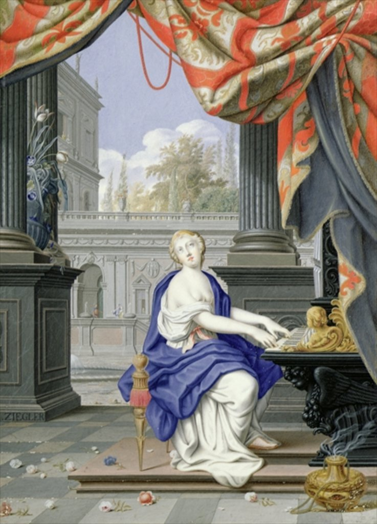 Detail of St Cecilia seated playing an Organ by Johann Ziegler