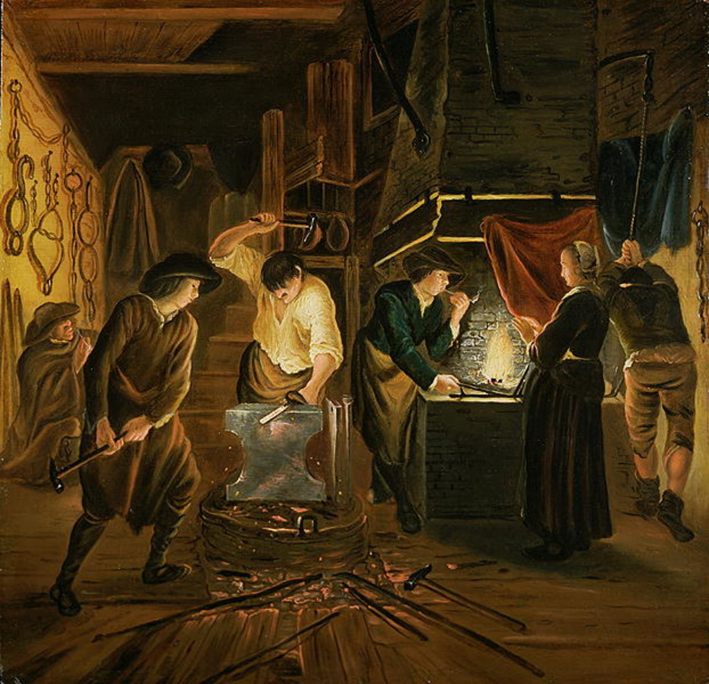 Detail of The Blacksmith's Forge by Johannes Dircksz van Oudenrogge