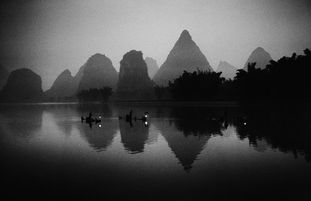Detail of Cormorant Fishermen on the Li-Jiang River by Corbis