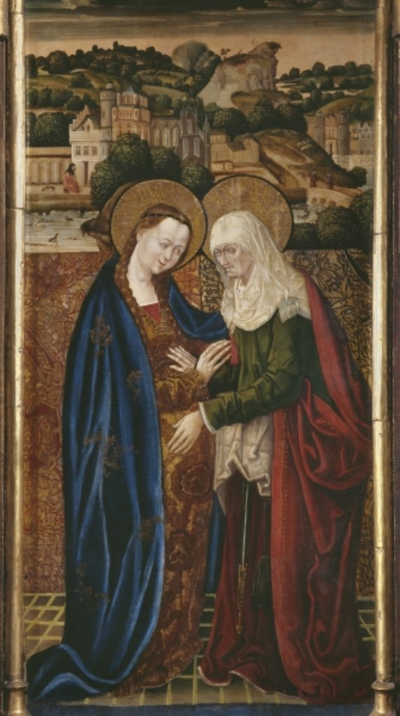 Detail of Triptych, Visitation, central panel by Spanish & Flemish School