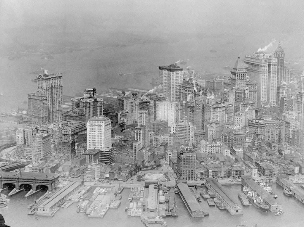 Detail of Aerial View of Piers and Manhattan with Skyline by Corbis
