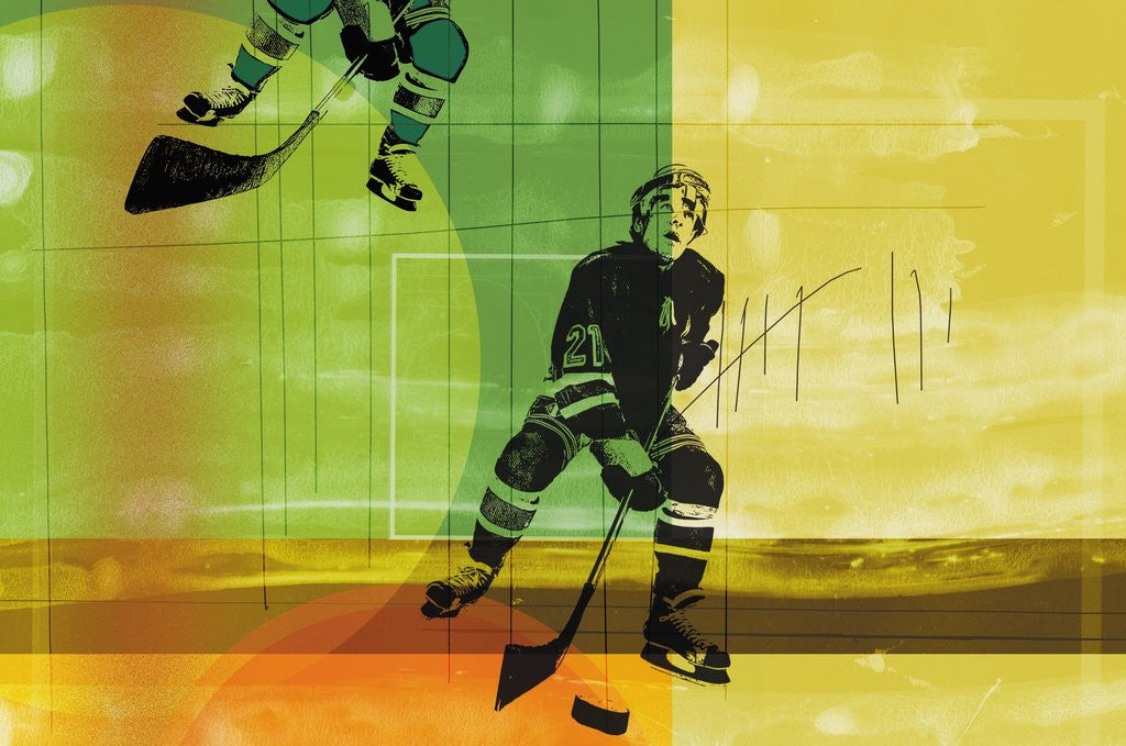 Detail of Colorful hockey by Corbis