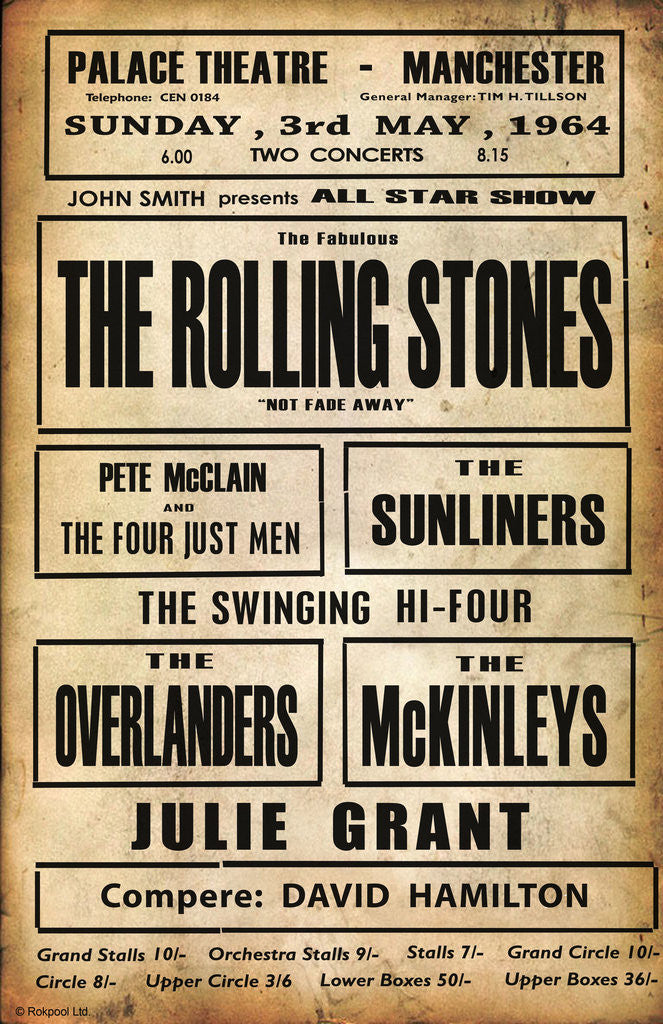 Detail of Rolling Stones Palace Theatre Poster by Rokpool
