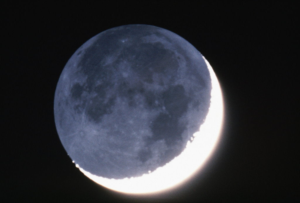 Detail of Crescent Moon with Earthshine by Corbis