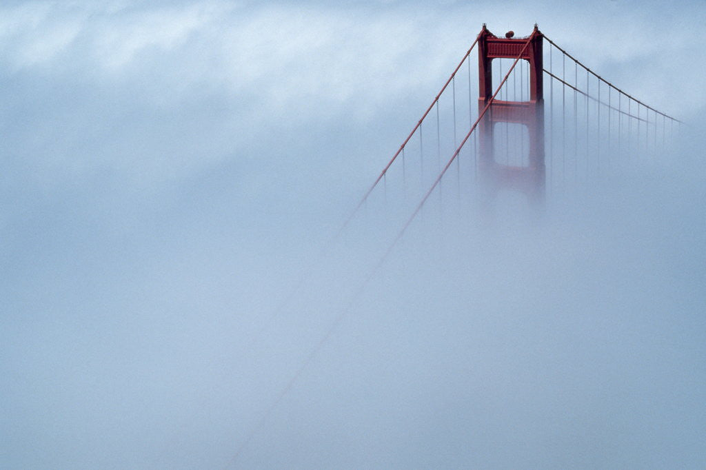 Detail of Fog Surrounding Golden Gate Bridge by Corbis