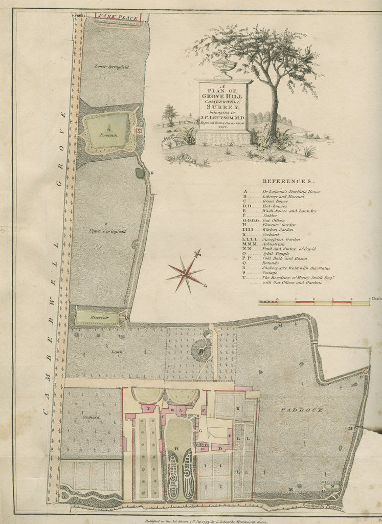 Detail of A plan of Grove Hill, Camberwell, Surrey by James Edwards