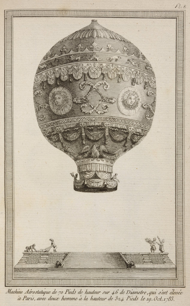 Detail of A balloon in flight by Anonymous