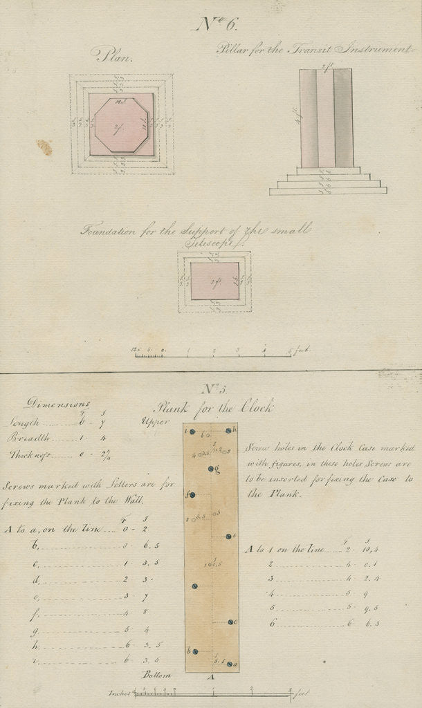 Detail of Fixtures for pendulum clock and transit instrument, Sumatra by unknown