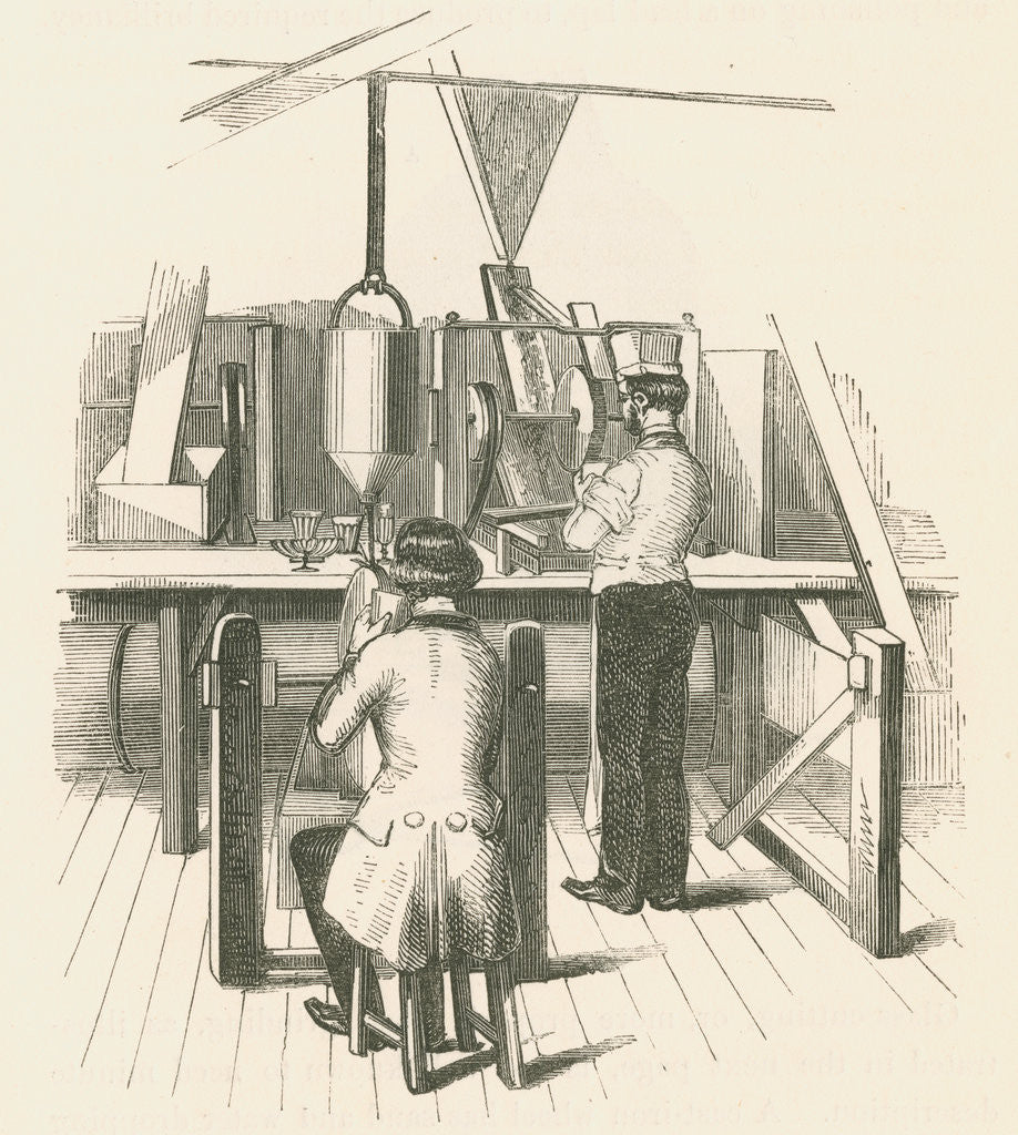 Detail of Glassworkers cutting glass by unknown