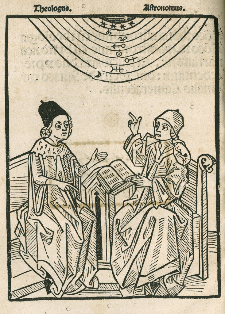 Detail of Depiction of a dialogue between a theologian and an astronomer by Anonymous