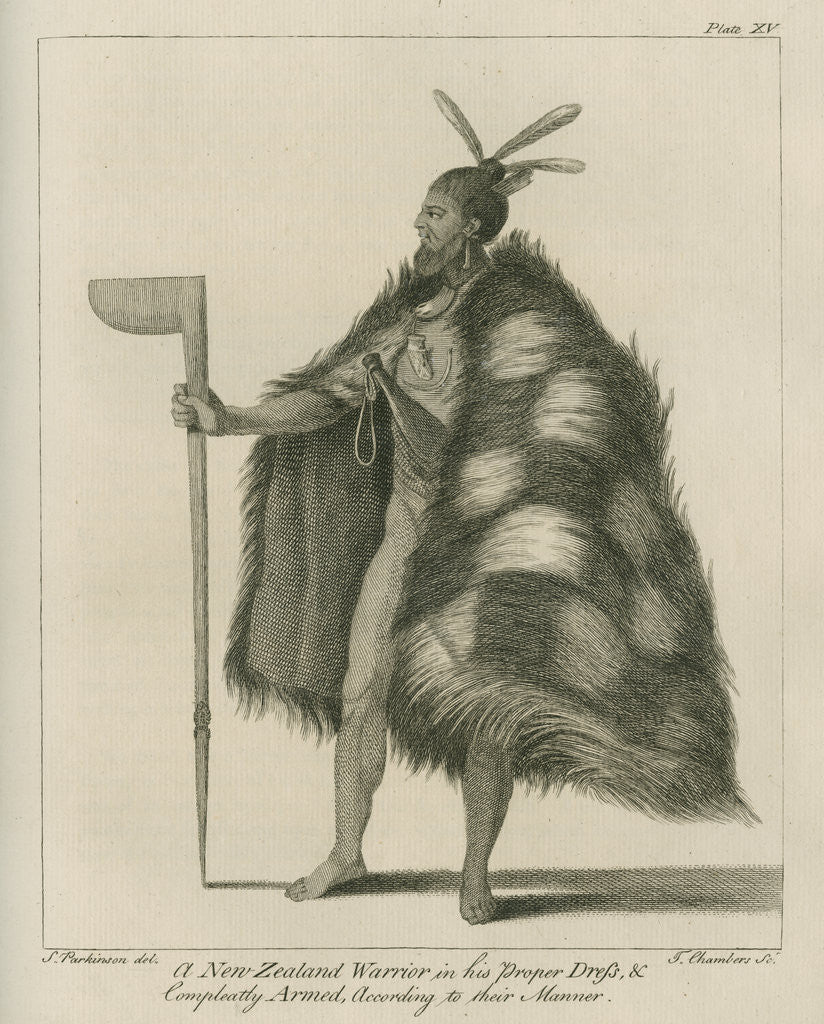Detail of A New Zealand Warrior in his Proper Dress by Thomas Chambers