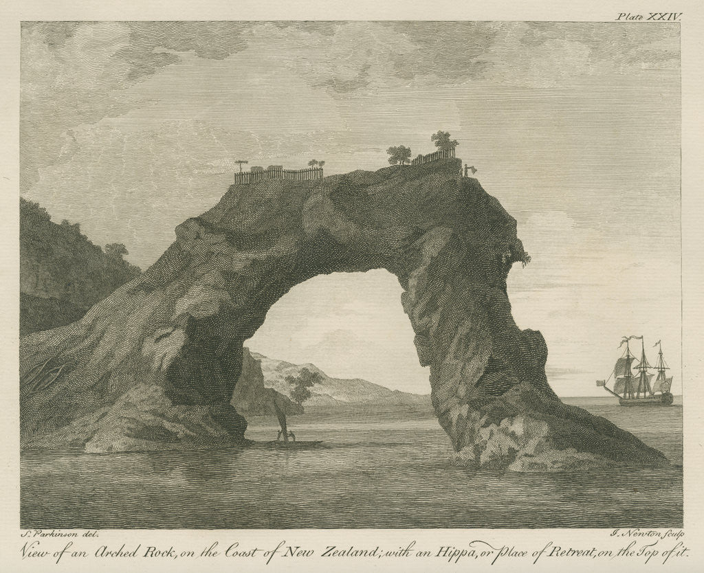 Detail of '... arched Rock, on the Coast of New Zealand; with an Hippa, or place of Retreat...' by James Newton