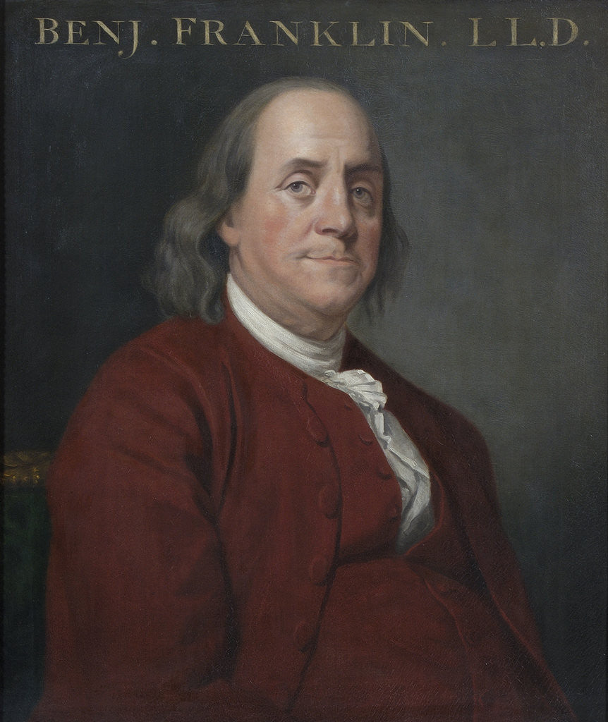 Detail of Portrait of Benjamin Franklin (1706-1790) by Joseph Wright
