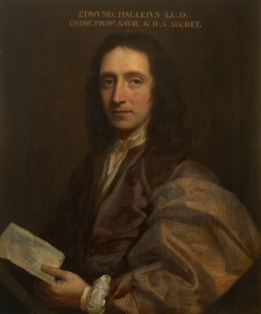 Detail of Portrait of Edmond Halley (1656-1742) by Thomas Murray