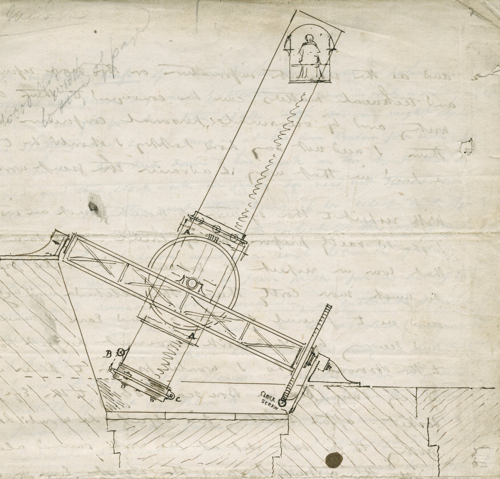 Detail of Design sketch for the Great Melbourne Telescope by James Nasmyth