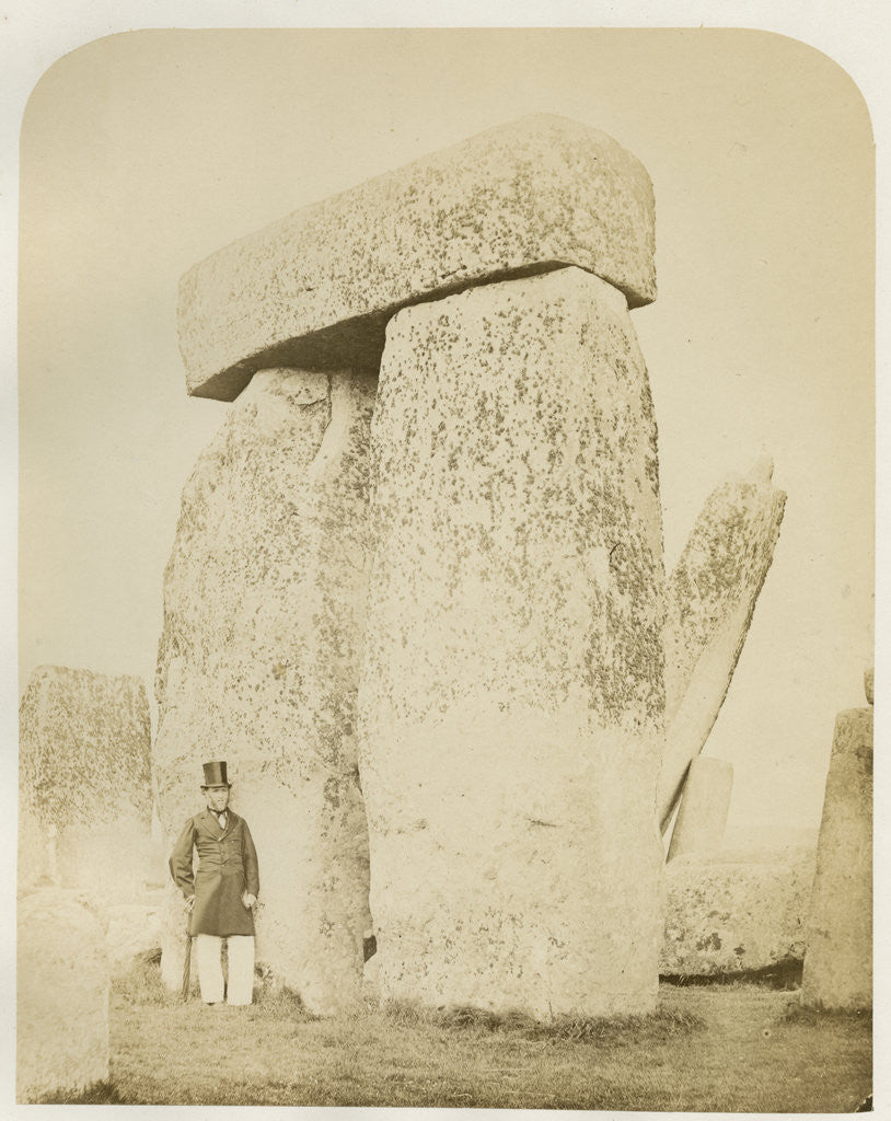 Detail of 'Stonehenge. Trilithon (B) on the left of the altar stone' by Henry James