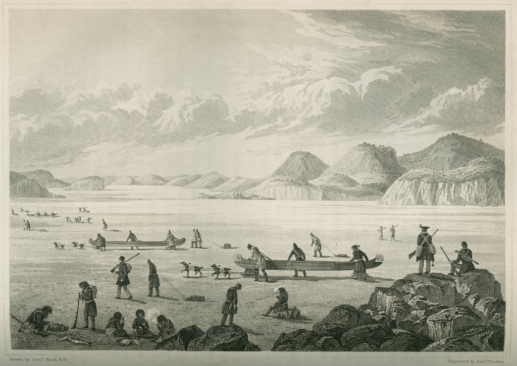 Detail of Expedition passing through Point Lata on the ice, June 25 1821 by Edward Francis Finden