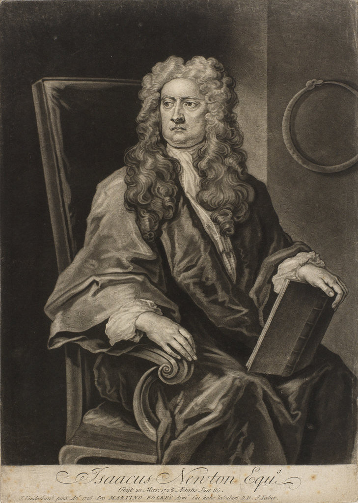 Detail of Portrait of Isaac Newton (1642-1727) by John Faber the Younger