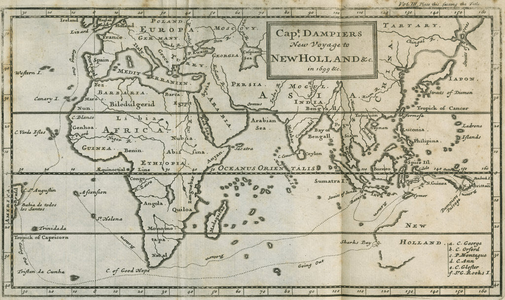 Detail of Map of William Dampier's voyage to Australia, 1699 by Anonymous