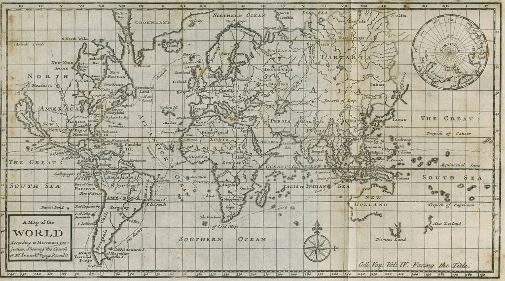 Detail of Map of William Dampier's circumnavigation of the world, 1703 by Anonymous