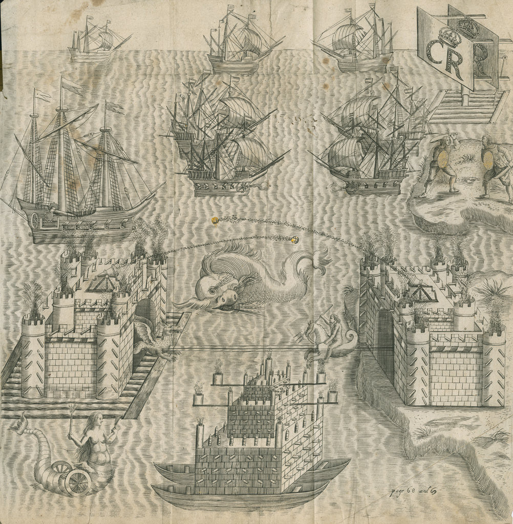Detail of Firework display featuring ships and castles by Anonymous
