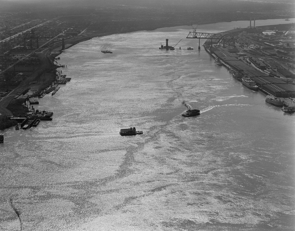 Detail of Ferry Barges on the Mississippi River by Corbis