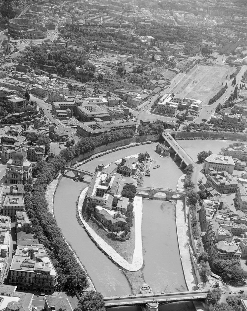 Detail of Aerial View of Isola Tiberina, Looking South by Corbis