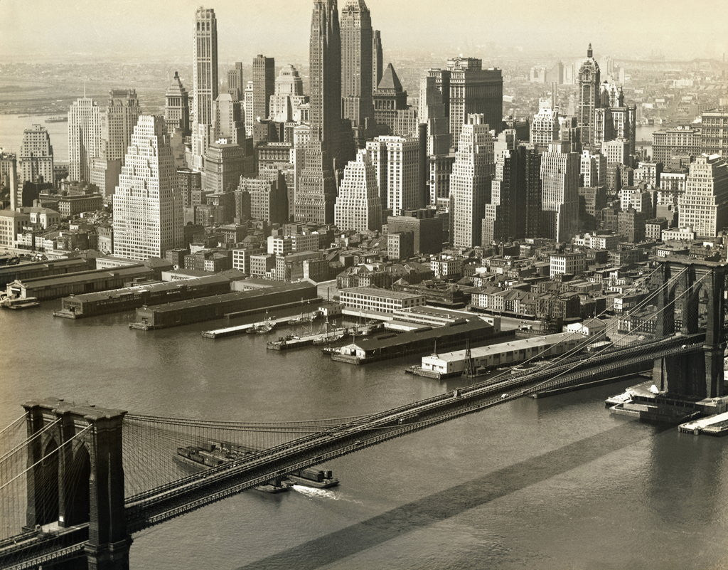 Detail of Downtown Manhattan and Brooklyn Bridge by Corbis