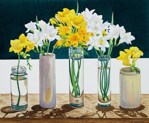 Detail of Still Life Freesias by Christopher Ryland