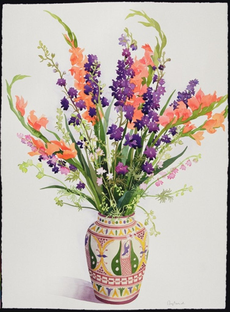 Detail of Larkspur and Gladioli in a Moroccan Vase by Christopher Ryland