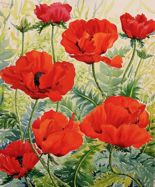 Detail of Large Red Poppies by Christopher Ryland