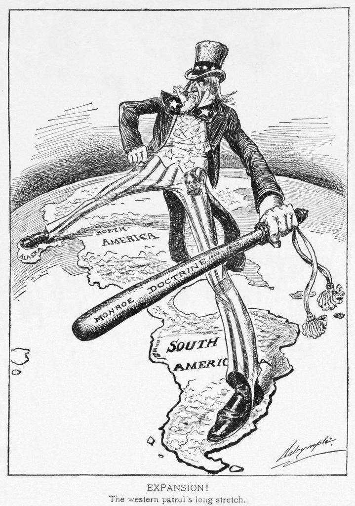 Uncle Sam with a Big Stick Political Cartoon posters