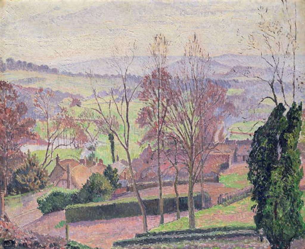 Detail of A February Morning, East Knoyle, 1917 by Lucien Pissarro