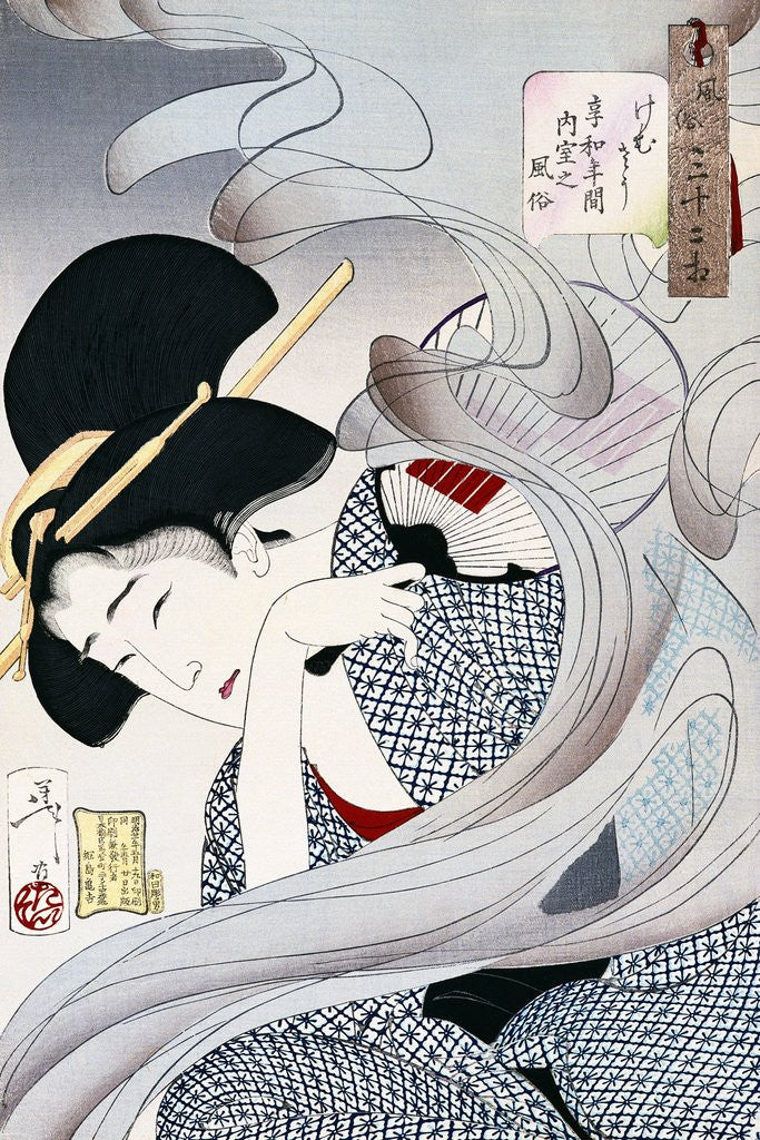 Detail of 19th Century Japanese Print of a Woman with a Fan by Corbis