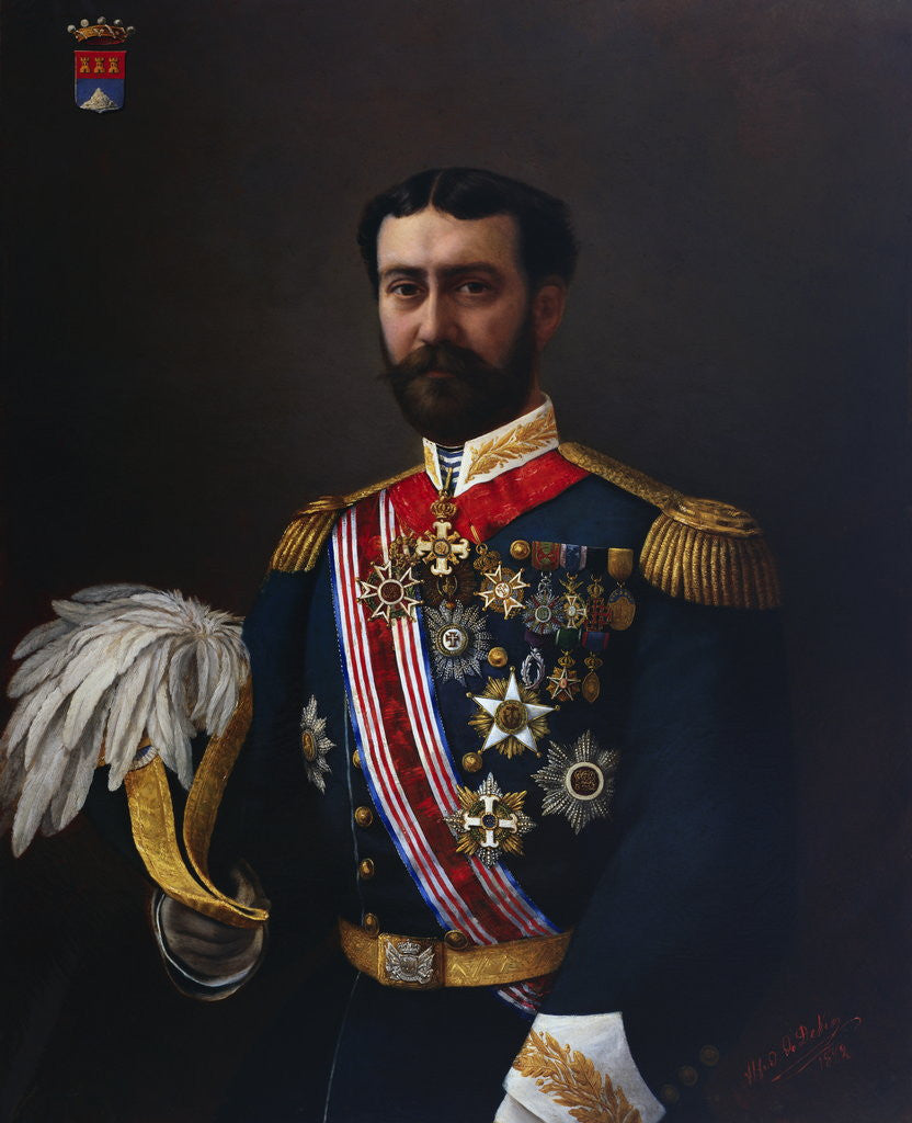 Detail of Portrait Painting of the Count of Montalbo in Uniform by Alfred de Dekez