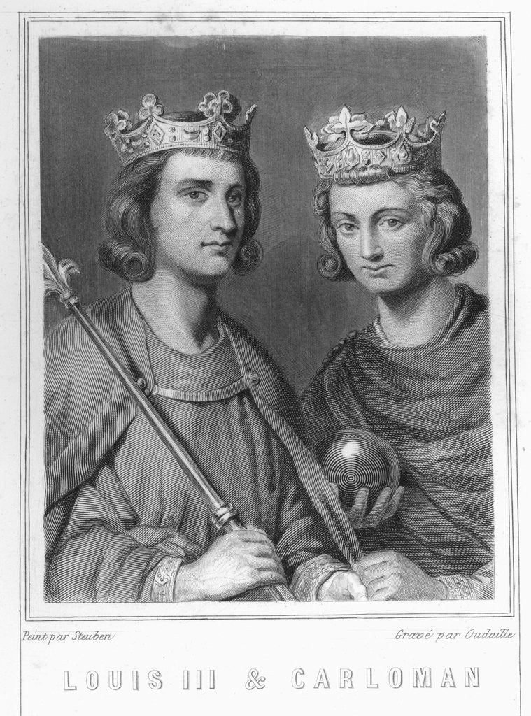 Detail of Louis III and Carloman by Oudaille
