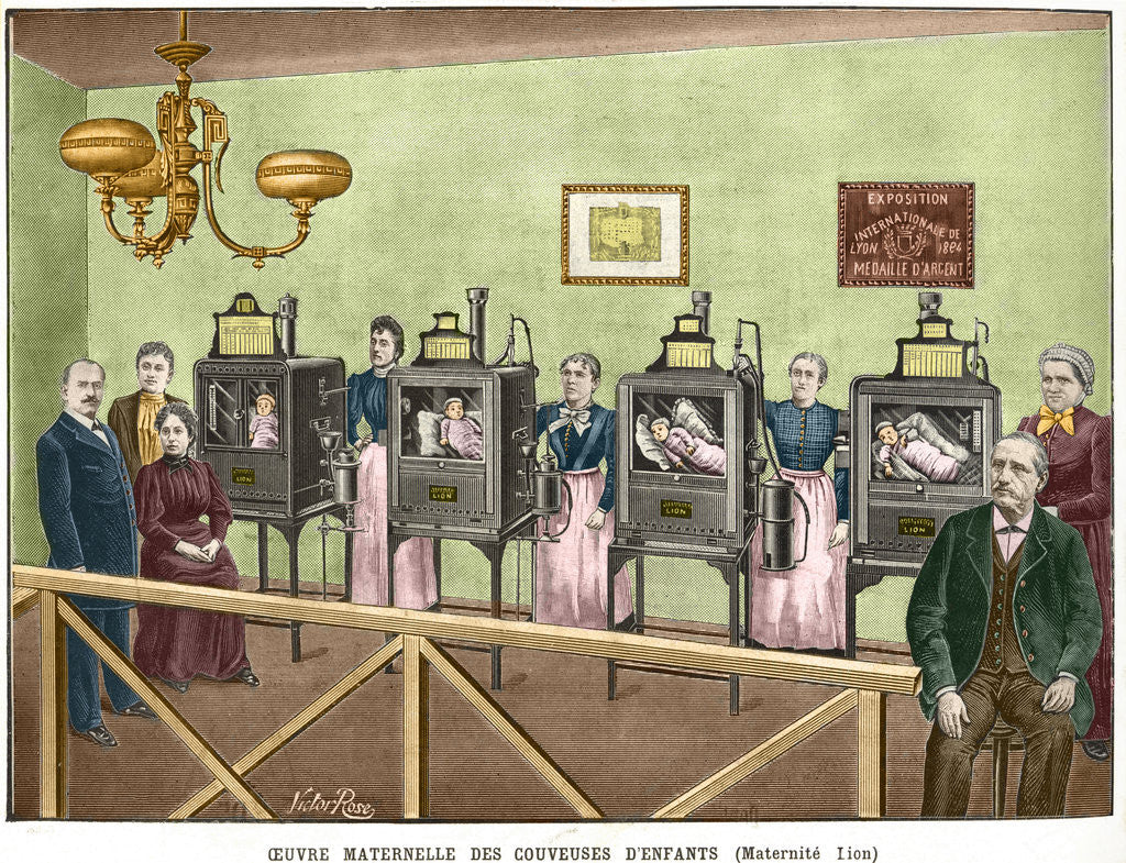 Detail of 19th Century Color Engraving of Infant Incubators by Victor Rose