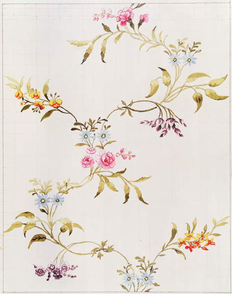 Floral design of carnations and roses for a silk material to be woven at Spitalfields