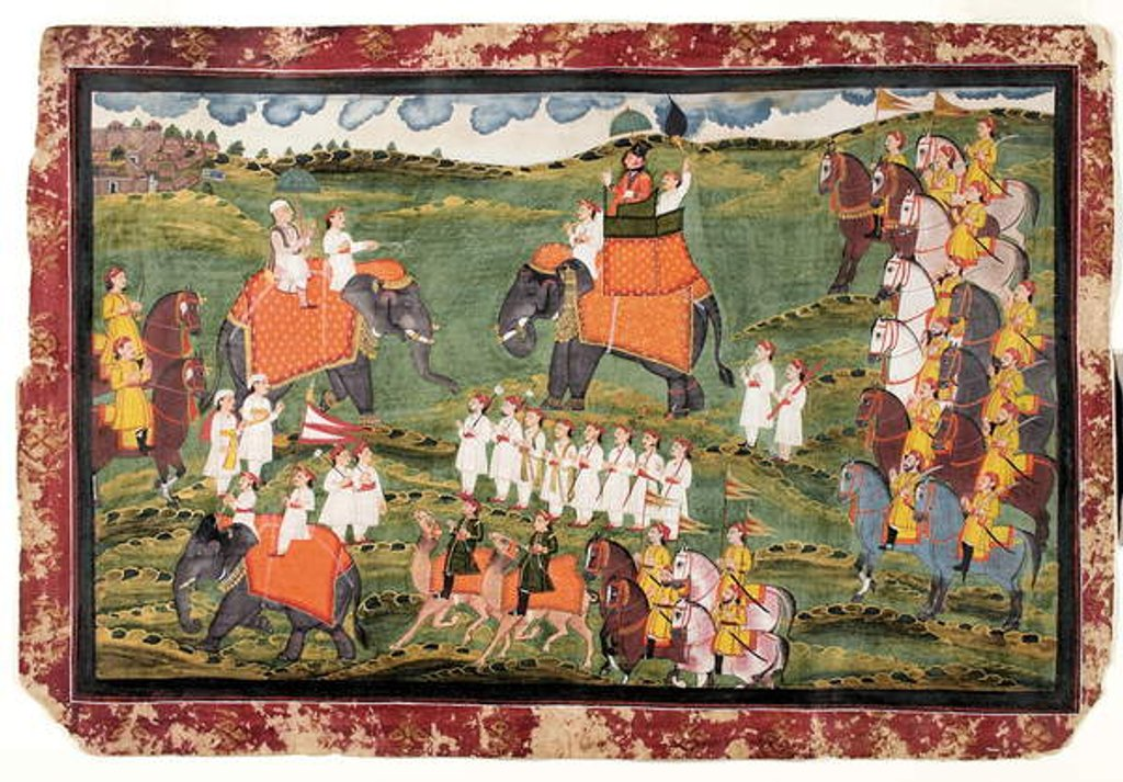 Detail of Colonel James Tod and Guru Gyanchandra riding elephants near Udaipur, October 1822 by Rajasthani School