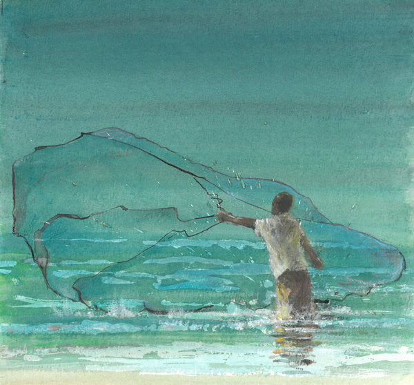 Detail of Lone Fisherman 3 by Lincoln Seligman