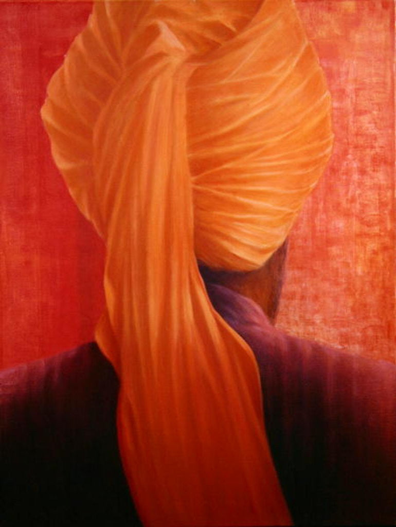 Detail of Orange Turban on Red by Lincoln Seligman