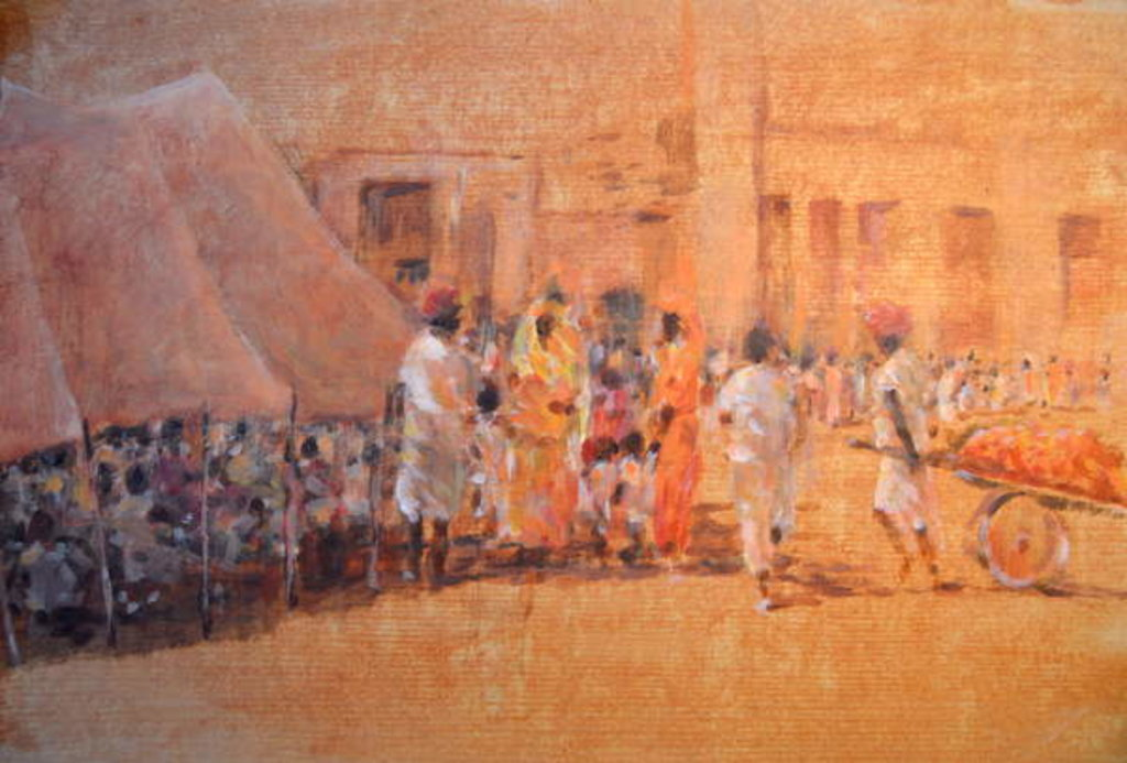 Detail of Village Scene, Jaipor by Lincoln Seligman