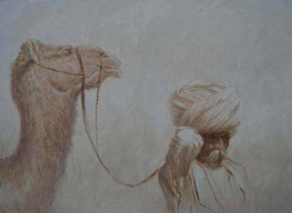 Detail of Man Leading Camel by Lincoln Seligman