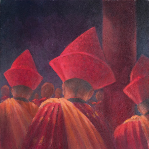 Detail of Buddhist Monks, Bhutan by Lincoln Seligman