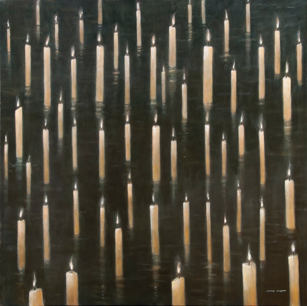 Detail of Candles on the Lake, Udaipur, India by Lincoln Seligman