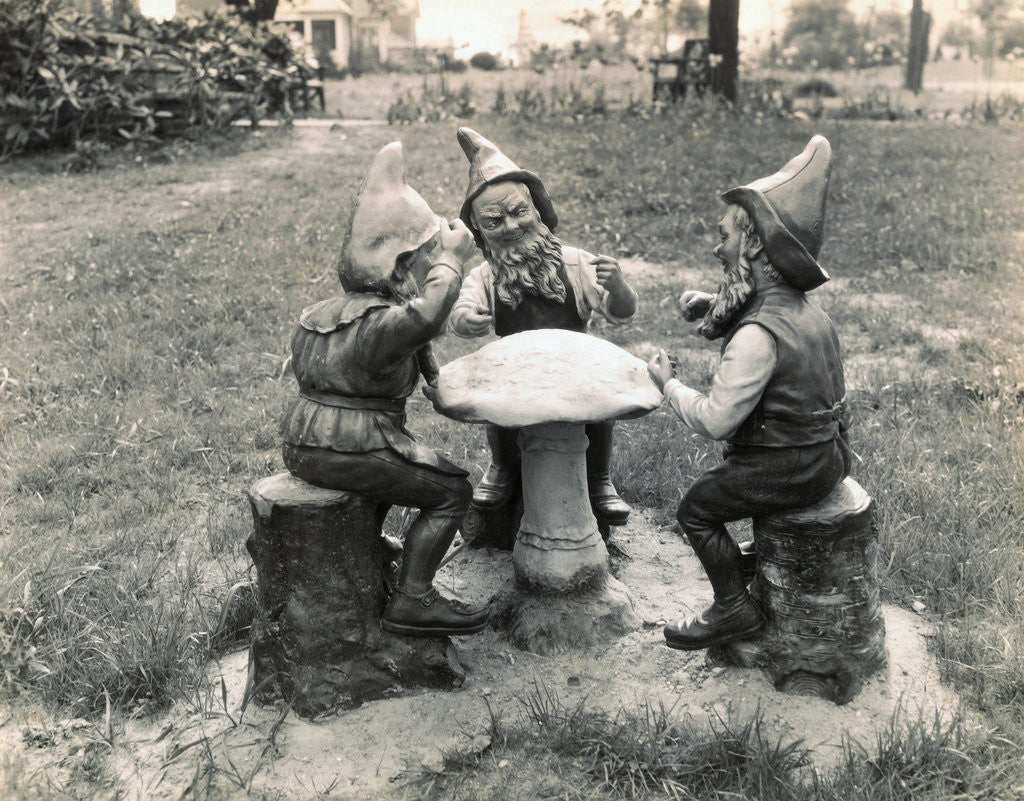 Detail of Gnomes Sitting Around a Mushroom by Corbis